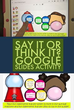 "Say it or think it? Many students struggle with the conversational social skill of filtering their thoughts! This digital, paperless google slides activity gives students the chance to sort thoughts into ""think it"" or ""say it"" categories! This activity is perfect for elementary school counseling classroom guidance lessons, individual or small group counseling!"