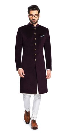 Shop for the Sujaan Purple Velvet Sherwani Sherwani For Men Wedding, Wedding Dresses Men Indian, Mens Sherwani, Wedding Dress Men, Wedding Suits, Mens Indian Wear, Mens Ethnic Wear, Indian Men Fashion, Mens Fashion Suits