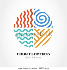 Four elements simple line symbol in circle shape. Vector logo design template. Abstract concept for nature energy, synergy, tourism, travel, business. Fire, air, water and earth sign.