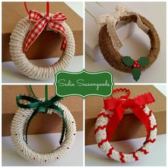 Mason Jar Lid Wreath Ornaments - This is a sweet, simple Christmas craft anyone can do- twine/cord/rope-wrapped mason jar lids turn into perfectly charming