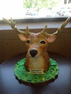 Deer head cake - now there's a man cake! Father's Day or celebrate Deer Season or getting their first deer!