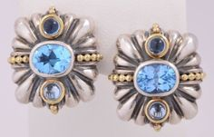 Authentic-Lagos-Caviar-Large-Sterling-Silver-and-18K-Gold-w-Blue-Topaz-Earrings