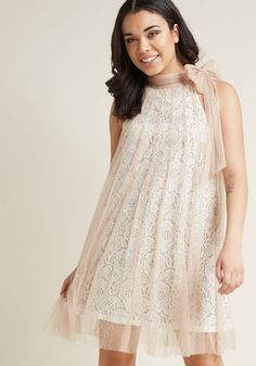 Time and Grace Lace Dress in Champagne