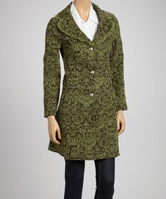 Take a look at this Papillon Imports Tea & Brown Arabesque Lace Coat on zulily today!