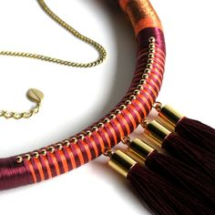 Contemporary Textile Beaded Rope Necklace by TangeloTree on Etsy