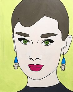 """Audrey With The Troll Earrings, Acrylic, 16"""" by 20"""" canvas   medium contemporary pop art painting by artist Liz Kelly Zook   wall art, stretched canvas, stretched canvas wall art, painting, pop art painting, contemporary pop art painting, colorful art, pop painting, home decor, nashville, pop artist, female pop artist, contemporary artist, paintings, nashville"""