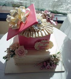 Ivory and Pink Engagement Gift Box Specialty Cake: SC-30134