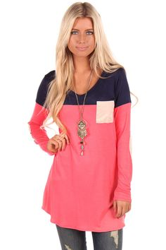 Lime Lush Boutique - Coral and Navy Top with Cream Suede Details, $34.99 (http://www.limelush.com/coral-and-navy-top-with-cream-suede-details/)
