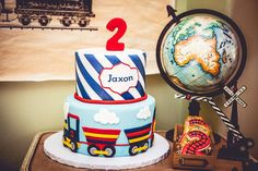 Fantastic cake at a vintage train birthday party! See more party planning ideas at CatchMyParty.com!
