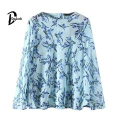 #aliexpress, #fashion, #outfit, #apparel, #shoes DayLook, #2016, #Women, #Summer, #Shirts&Blouses, #Elegant, #, #Floral, #Button, #Back, #Flared, #Sleeve, #Chiffon, #Blouses, #Plus, #Size, #S-L, #Chemise, #Femme
