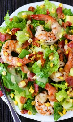 Shrimp, Avocado and Roasted Corn Salad