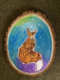 Space Fox Pyrography/Watercolor - HOME SWEET HOME