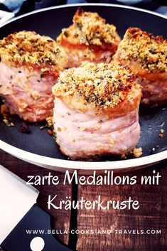 Quick and easy recipe for tender pork medallions .- How to make perfect, delicate medallions with # herbal crust # recipe # quick and easy - Pork Medallions, Healthy Snacks For Adults, Crust Recipe, Pumpkin Dessert, Quick Easy Meals, Tapas, The Best, Food To Make, Snack Recipes