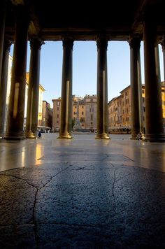 Morning at the Pantheon, Rome, Italy. View from the entrance door to the square outside.