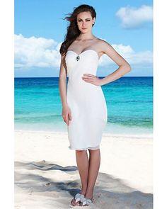 Sheath Sweetheart Knee-length Chiffon Short Beach Wedding Dress | LynnBridal.com