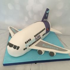 Cake in the shape of an A380 aeroplane