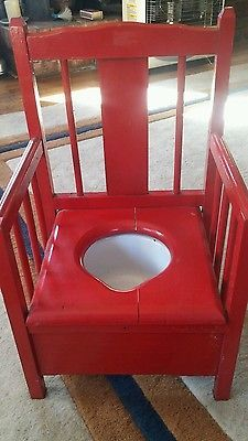 childs potty chair with White Rock brand enamel chamber pot Potty Chair, Rocking Chair, Pots, Enamel, Chairs, Vanity, Crafty, Children, Furniture
