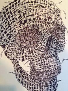 Zentangle Skull--Contour Line. Elements of Art. Artist:  Kathy Moore/Teacher product sample www.kathymooreart.com