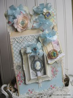 shabby chic cameo pocket full of tags decoration gift treat bag