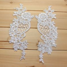 Bridal Beaded Lace Applique pair in White or Ivory for Weddings, Bridal Veils, Hair Flower  Great for wedding gown, veils, bridal headpiece, wedding accessories  Listing is for one pair. Measure: 27.5 x 9.5 cm   Uses: wedding, daily production of decorative skirt, lace shirt, lace T-shirt production decoration.   #we do custom made in large order of craft supplies.  #we are mainly do supply and so we have lots of the item in stock. message us the quantity you need and I can check stock…