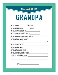 For the grandkids to fill out...