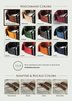 Details in short- [Watchband Color: *Heritage Brown] -------------------------------------------------------- This genuine leather watch band is made for Apple Watch Series 1 and 2, both 38mm and 42mm case. It also fits any type of watches which the lug width is 20mm or 24mm. Each pair is uniquely handmade!  There are more colors and styles! Please check the 5th picture in this listing, or visit our shop front at trimleather.etsy.com.   Basic Info…