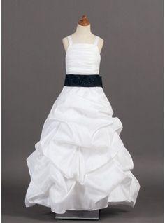 Robes de Petites Filles Ligne-A/Princesse Sans bretelles Longeur au sol Tafetta Robes de Petites Filles avec Ondulé  Bretelle  Brodé (010005776)
