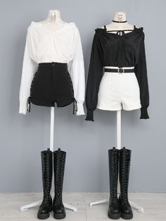 Kpop Fashion Outfits, Ulzzang Fashion, Cute Fashion, Asian Fashion, Look Fashion, Girl Fashion, Fashion Dresses, Cute Casual Outfits, Edgy Outfits