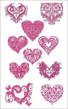 10 Valentine Hearts machine embroidery designs