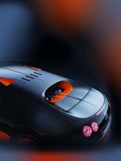 Bugatti Veyron SuperSport 2011 wallpaper by iSphere App (flickr 5268851202) • top back 3/4 view, red-black blue lit studio shot