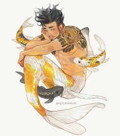 mermay koi fish boy Hideji,,, by badturquoise on DeviantArt Mermaid Boy, Male Mermaid, Mermaid Drawings, Fish Drawings, Koi Fish Drawing, Mermaid Paintings, Animation, Monster Boy, Boy Fishing