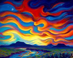 Tracy Turner - Dance of a Desert Sunset Desert Art, Desert Sunset, Southwestern Art, Sun Art, Naive Art, Pastel Art, Landscape Art, Desert Landscape, Painting & Drawing
