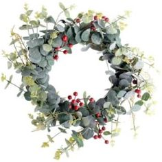 Office Christmas Decorations, Christmas Door Wreaths, Christmas Branches, Artificial Eucalyptus Garland, Eucalyptus Wreath, Aussie Christmas, Christmas Holidays, Berry Garland, Red Berries