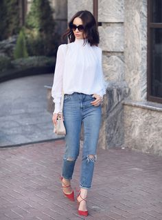 25ab30c663 High Pointed Tip Inset Frame Oversize Cat Eye Sunglasses 8462. Mom Jeans  OutfitBlouse ...