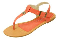 ef9073d3a252 New Starbay Brand Women s T-Strap Orange Gladiator Flats Sandals Size 6  Sunville http