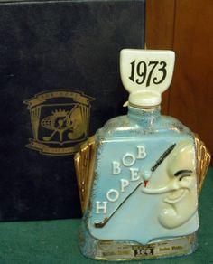 Jim Beam 1973 Bob Hope Golf decanter with presentation case.