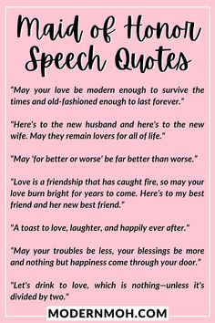 Want to take your wedding toast to the next level? Check out our 35 maid of honor speech quotes guaranteed to get glasses clinking! #maidofhonortoastquotes #maidofhonorspeechquotes #ModernMaidofHonor #ModernMOH Wedding Toast Quotes, Wedding Toast Speech, Wedding Speech Quotes, Wedding Toasts, Toast For Wedding, Maid Of Honor Toast, Maid Of Honor Speech, Matron Of Honour, Honor Quotes