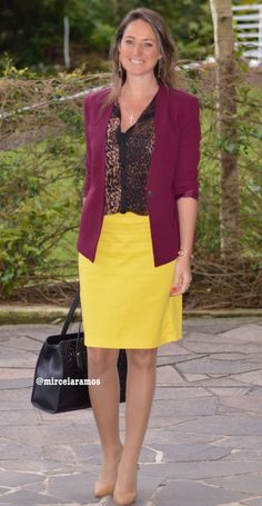 Look de trabalho - look do dia - look corporativo - moda no trabalho - work outfit - office outfit - fall outfit - frio - look de outono - executiva - saia amarela - yellow skirt - animal print - marsala