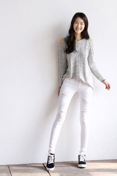 Shoulder cut out top is cute with white pencil jeans. Classic Korean fashion. -Lily