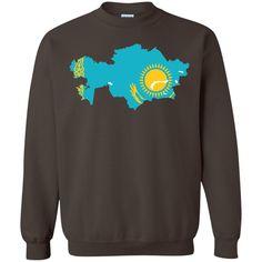 Kazakhstan flag Printed Crewneck Pullover Sweatshirt 8 oz