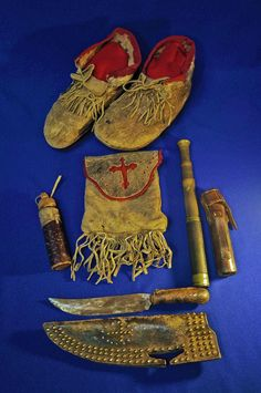 Ethnographic & Tribal Arts   Blackfoot artifact collection: knife with case and other items - The Curator's Eye