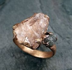 Raw Morganite Diamond Rose Gold Ring Conflict Free by Angeline