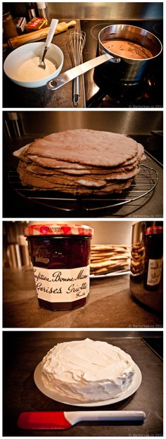 """Family treasure photo-only recipe for layered """"wonder cake""""."""