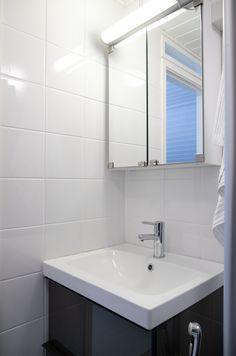 Wc:n allaskaappi, peilikaappi. WC, sink, mirror, cabinets.