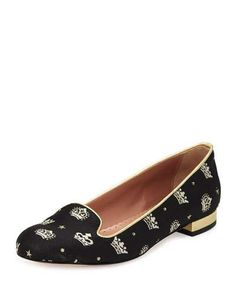 RED VALENTINO Crown-Print Suede Ballerina Flat, Black/Gold. #redvalentino #shoes #flats