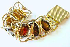 Massive Brown Glass Bracelet Haute Couture Gold by RenaissanceFair