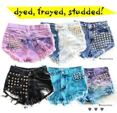 diy fashion (D-I-Y Pink Ombre Shorts with Studs! Diy Shorts, Cute Shorts, Short Shorts, Studded Shorts, Studded Denim, Ripped Shorts, Jean Shorts, Diy Cut Shirts, Cool Outfits