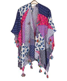 Look at this SUE & KRIS Coral Patchwork Tassel-Trim Kimono on #zulily today!
