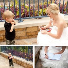"""""""On Disneyland bride Kristie's wedding day, a tiny tot approached her with his autograph book in tow- he thought she was a Disney princess (rightfully so, she looked stunning!) and was determined to get her autograph. Kristie of course obliged and signed """"Princess Bride Kristie"""" in his memory book."""""""
