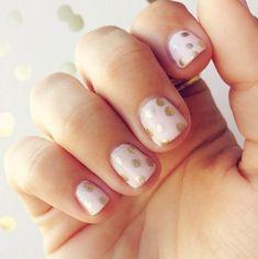 Gold polka dot + Pale pink Nails